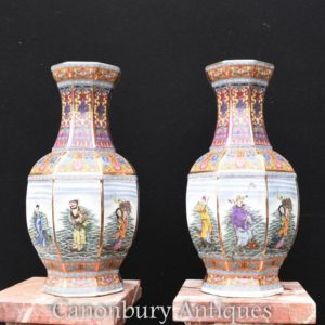 Pair Chinese Imari Porcelain Vases Urns Octagonal