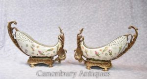 Pair French Art Nouveau Ormolu Swan Dishes Bowls