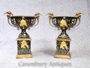 Pair French Art Nouveau Porcelain Urns on Stands Ormolu Birds