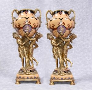 Pair French Empire Porcelain Ormolu Maiden Vases Urns