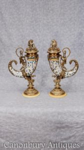 Pair Porcelain Cornucopia Vases French Urns Ormolu Dragons Horn of Plenty