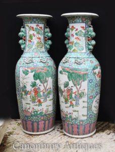 Pair Tall Chinese Famille Vert Porcelain Urns Vases