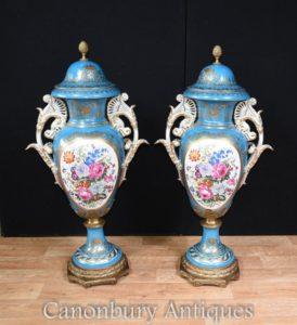 Pair Tall Sevres Porcelain Floral Vases Urns
