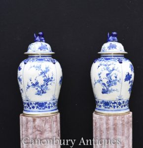 Blue and White Porcelain Chinese Temple Urns Lidded Ginger Jar