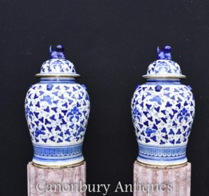 Pair Blue and White Porcelain Ginger Jars Chinese Kangxi Urns