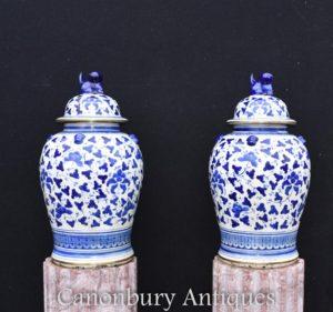 Pair Blue and White Porcelain Ginger Jars Chinese Kangxi Urns