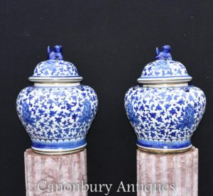 Pair Chinese Blue and White Porcelain Lidded Urns Ginger Jars