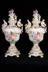 Pair Dresden Porcelain Encrusted Vases Urns Floral Figurines