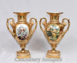 Pair Dresden Porcelain Gold Amphora Vases Urns