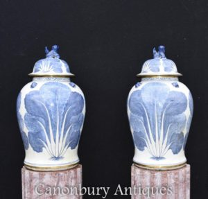 Pair Nanking Porcelain Blue and White Ginger Jars Vases
