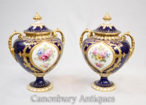 Pair Royal Crown Derby Vases Urns Circa 1885