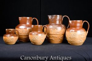 Set 5 Antique Royal Doulton Jugs Urns Circa 1880