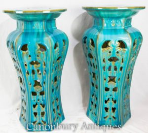Chinese Porcelain Pedestal Tables - Famille Gris China Pottery