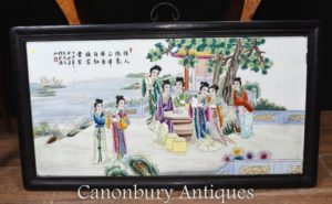Chinese Porcelain Plaque - Hardwood Wall Hanging Famille Rose Painted