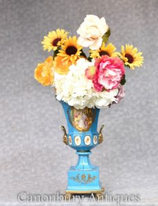 Dresden Porcelain Urn on Stand - German Pottery Campana Vase