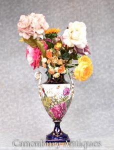German Porcelain Vases - Dresden Pottery Tropical Floral Urn