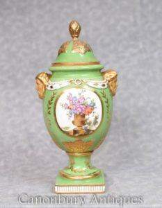 Green Dresden Vase - German Porcelain Urn Floral Spray