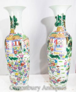 Pair Canton Porcelain Vases- Chinese Cantonese Urns