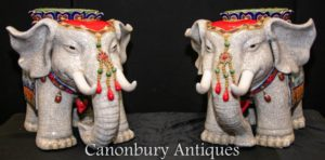 Pair Chinese Elephants - Porcelain Chinaware Famille Rose