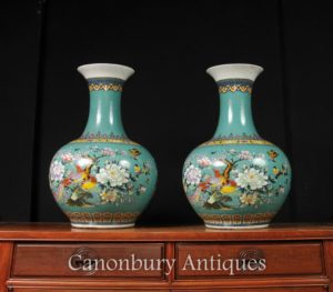 Pair Chinese Jiaqing Porcelain Bulbous Vases Urns Famille Rose
