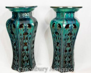 Pair Chinese Porcelain Side Tables Stands - Famille Gris China