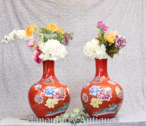 Pair Chinese Porcelain Vases - Ming Shangping Form Floral Urns