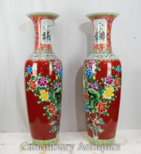 Pair Qing Porcelain Urns - Chinese Ceramic Floral Vases