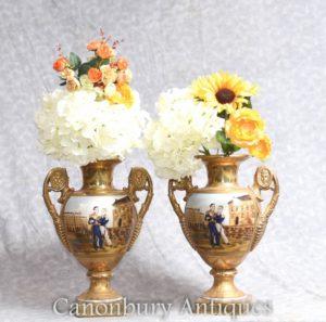 Pair Sevres Napoleon Vases - French Porcelain Vases