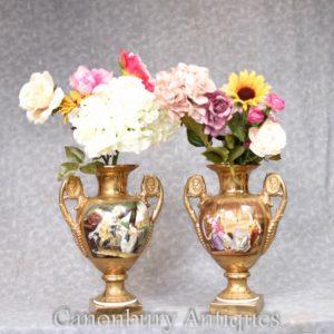 Pair Sevres Porcelain Vases - Roman Panels Urns