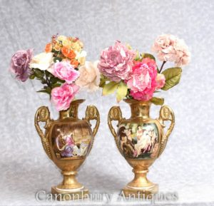 Pair Sevres Vases - French Porcelain Urns Toga Maidens