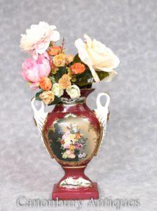 Porcelain Vase Swan Handles - German Dresden Urn