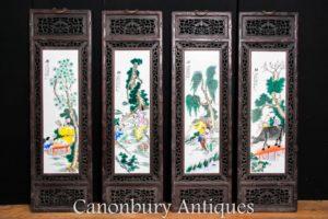 Set 4 Chinese Porcelain Plaques - Famille Rose Antique Hardwood Frame