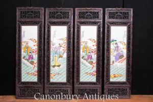 Set 4 Chinese Porcelain Plaques - Famille Rose Hardwood Antique Screens