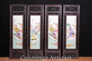 Set 4 Chinese Porcelain Plaques - Famille Rose Hardwood Antique Screens