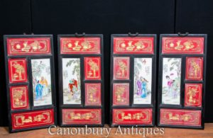 Set 4 Chinese Porcelain Plaques - Qianlong Hardwood Screen