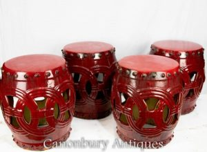 Set 4 Chinese Porcelain Seats - Oxblood Glaze China Stools