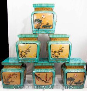 Set 6 Chinese Porcelain Stools Seats - Famille Jaune