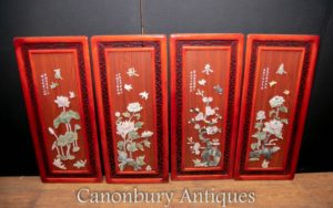 Set Chinese Panels Placques - Hardwood Soapstone Floral Decoratin=on