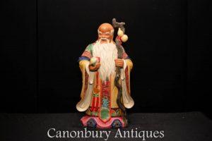 Three Chinese Porcelain Men Fu Lu Shou - Qing China Sanxing