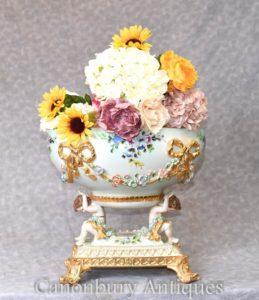 Dresden Porcelain Cherub Comport Bowl Tureen Encrusted