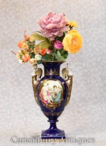 Dresden Porcelain Vase - Bisque Angel Handles Urn
