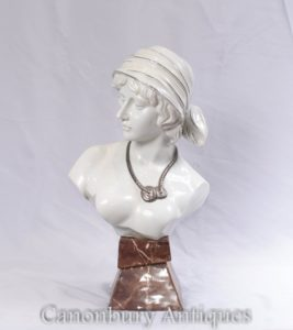 French Porcelain Maiden Bust - Female Head Statue