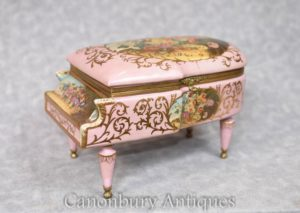 French Sevres Porcelain Piano Trinket Jewellery Box Case