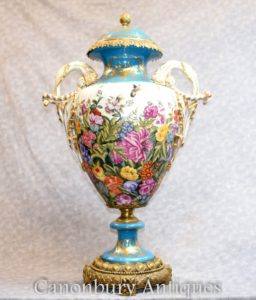 French Sevres Porcelain Vases - Tropical Floral Urns