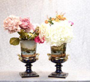 German Meissen Porcelain Campana Urns Vases