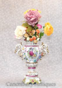 German Porcelain Floral Vase - Dresden Urn Planter