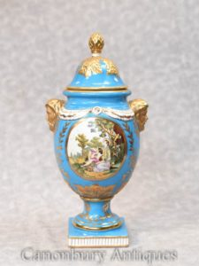 German Porcelain Lidded Urn - Dresden Vase
