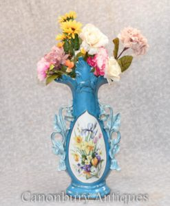 Large Single Sevres Porcelain Floral Vase Urn French Pottery