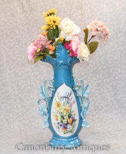 Large Single Sevres Porcelain Floral Vase Urn French Pottery