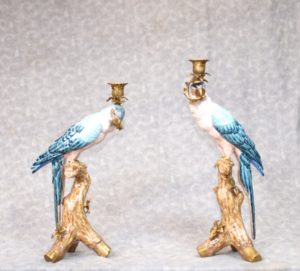 Pair Candelabras - French Porcelain and Gilt Parrot Candelsticks Candles
